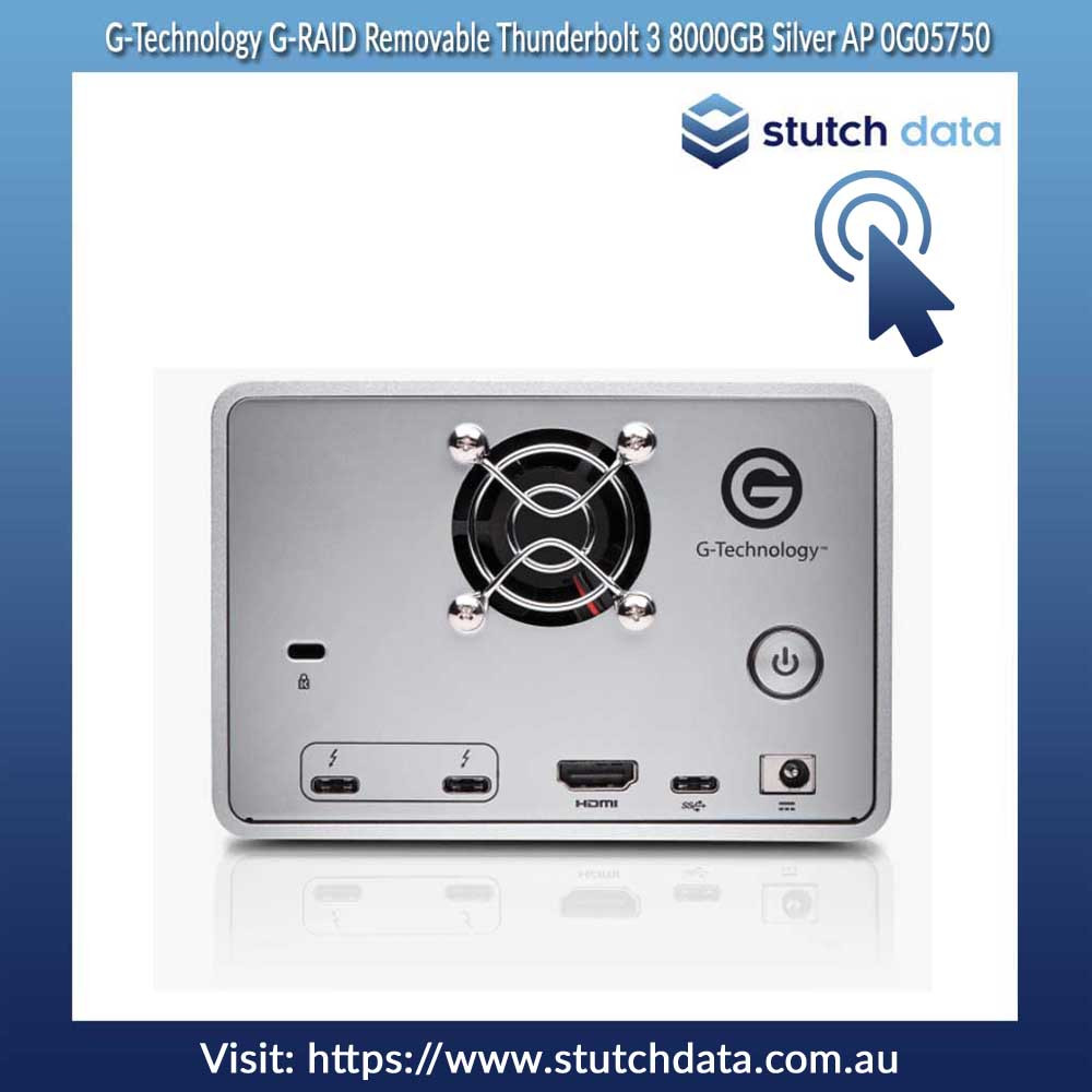 Image of G-Technology G-RAID Removable Thunderbolt 3 8000GB Silver AP 0G05750 back view