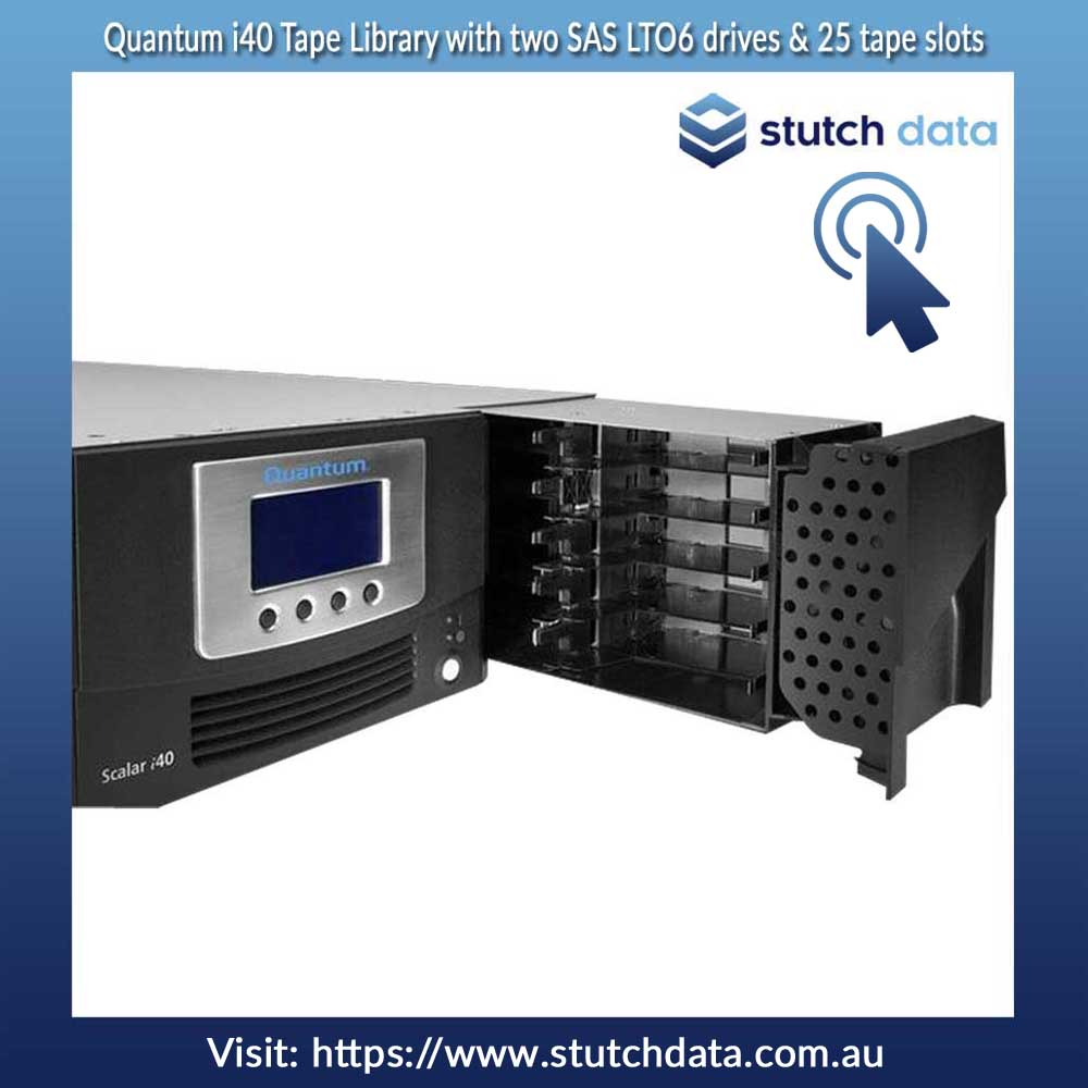 Image of Quantum i40 Tape Library with two SAS LTO6 drives & 25 tape slots