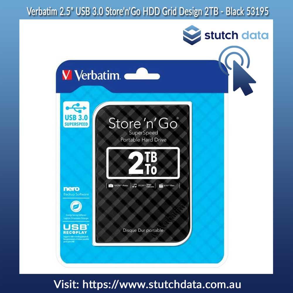 "Image of Verbatim 2.5"" USB 3.0 Store'n'Go 2TB HDD Black Grid Design 53195"
