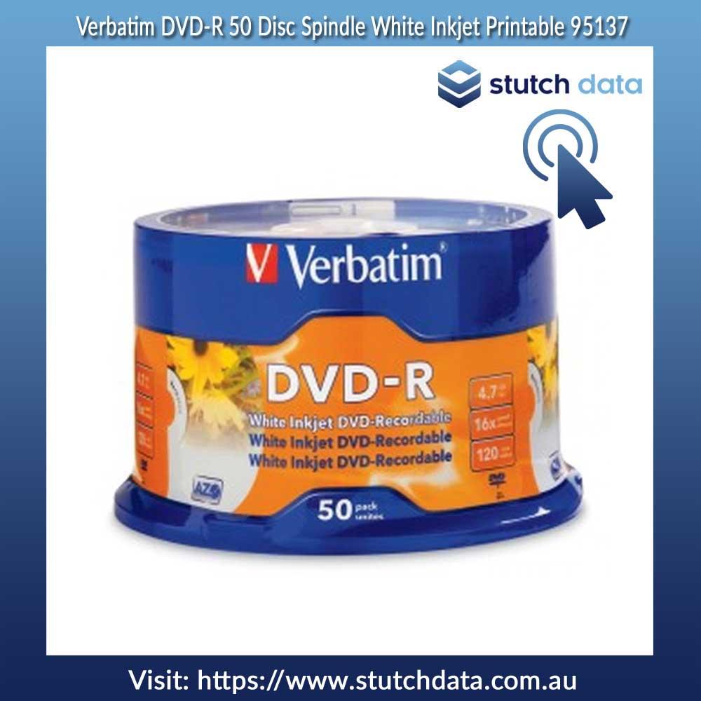 Image of Verbatim DVD-R 50 Disc Spindle White Inkjet Printable 95137