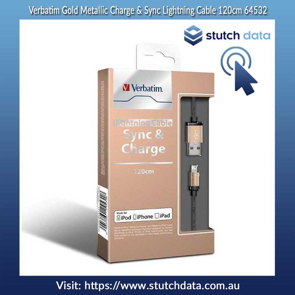 Verbatim Gold Metallic Charge & Sync Lightning Cable 120cm 64532